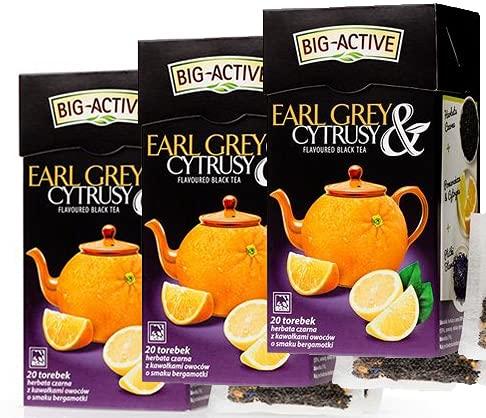 8250 Conjunto 3x BIG-ACTIVE, Earl Grey y cítricos, Té negro 100%, HERBAPOL, paquete de ahorro, 3x20 bolsitas de té x 2.0 g, Despierta la mente y los sentimientos, Apoya la digestión y la quema