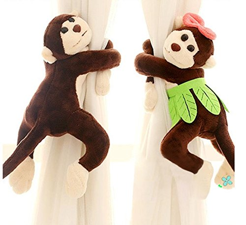 sea-junop Cute Monkey Window Curtain Fastener for kids Room_Brown