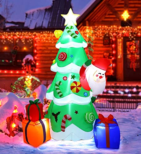 MAOYUE Christmas Inflatables 7ft Christmas Decorations Outdoor Inflatable Christmas Tree Blow Up Christmas Decorations Built-in LED Lights with Tethers, Stakes for Outdoor, Yard, Garden, Lawn