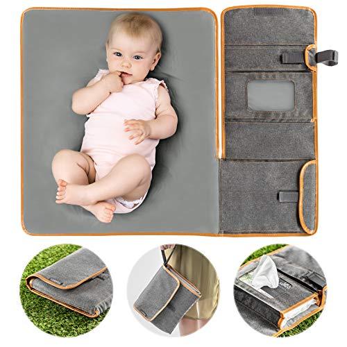 Zamboo Tragbare Baby Wickelunterlage für unterwegs - Faltbare Reise Wickeltasche mit abwaschbarer...