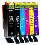 6 Cartucce Per Stampante XXL compatibile con Canon PGI-580 CLI-581 per Pixma TS8100 TS8150 TS8151 TS8152 TS8200 TS8250 TS8251 TS8252 TS8300 TS8350 TS8351 TS8352 TS9100 TS9150 TS9155
