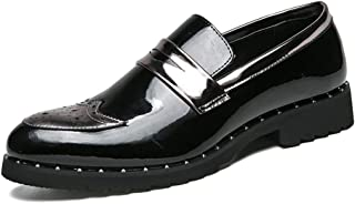 MYHYZZ-Oxfords Men's Oxford Casual Personality Patchwork Slip on Patent-leather Brogue Shoes Oxford