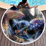 Tobgreatey Toalla de playa redonda con borlas, psicodélica, bosque de setas, mullida, para adultos, color blanco, 150 cm
