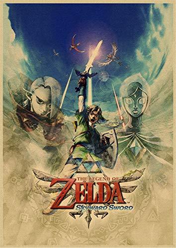 h-p The Legend of Zelda Juego Papel Kraft Retro Lienzo Arte Pintura...