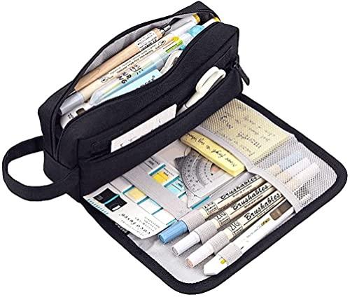 Funda de lápiz Bolsa de lápiz multifuncional Caja grande de lápiz de gran capacidad Bolsa de almacenamiento grande, bolsa de lápiz portátil de la bolsa de cosméticos con cremallera-4 colores bolsa bol