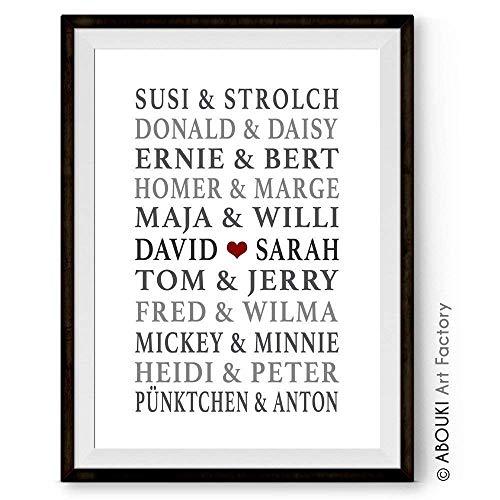 ABOUKI Traumpaar Nr. 7 - Berühmte Paare, personalisierter Kunstdruck mit Wunschnamen - ungerahmt -...