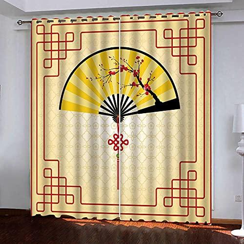 Gabapipa® Cortinas Dormitorio Moderno 2 Piezas Japón Flor de Ciruelo Abanico Plegable...