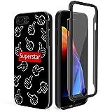 iPhone8 Plus ケース iPhone7 Plus ケース iPhone6sPlus ケース iPhone6Plus ケース FYY 二重構造 落下防止 透明 液晶保護フィルム 高透過率 防指紋 耐衝撃 バンパーケース クリア 5.5インチ iPhone 対応 スマホケース(ブラック)