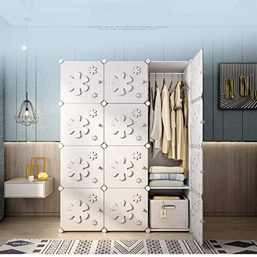 CENPEN Armario de lavandería blanco, portátil, estilo nórdico, diseño de flores, ahorro de espacio, organizador de ropa modular para decoración de dormitorio (color: blanco, tamaño: 111 x 47 x 147 cm)