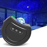Lampada Proiettore Stelle USB Ricarica, 6 Colori LED con Telecomando, 360° Rotazione Luce Notturna Bambini, Decorazione per Casa Festa Matrimonio Compleanno Natale (Grigio)