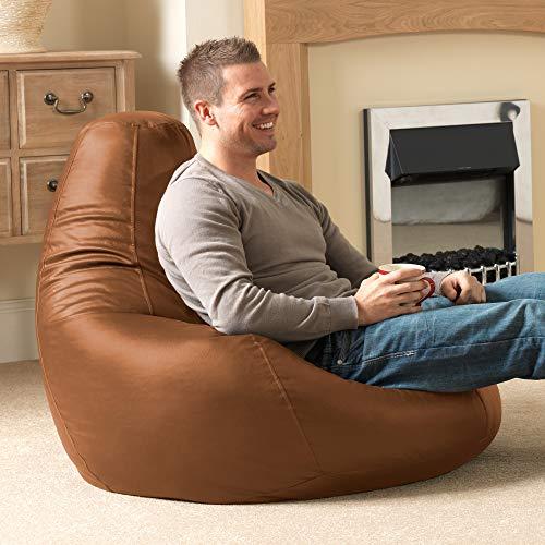 """Bean Bag Bazaar """"Designer Recliner"""" aus Kunstleder, Hellbraun, Gaming-Sitzsack, Sitzsäcke für Erwachsene, 90cm x 73cm, Groß, Sitzsäcke für das Wohnzimmer"""