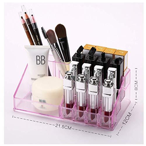 ZTMN Boîte de Rangement cosmétique en Plastique Bureau Rouge à lèvres Bijoux Produits de Soins de la Peau vitrine de Stockage (Couleur: Rose)