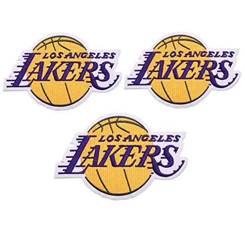 3 Stück NBA Lakers Nähen/Aufbügeln Basketball Logo Emblem Sportapplikationen Zubehör Dekoration Patches (Lakers)