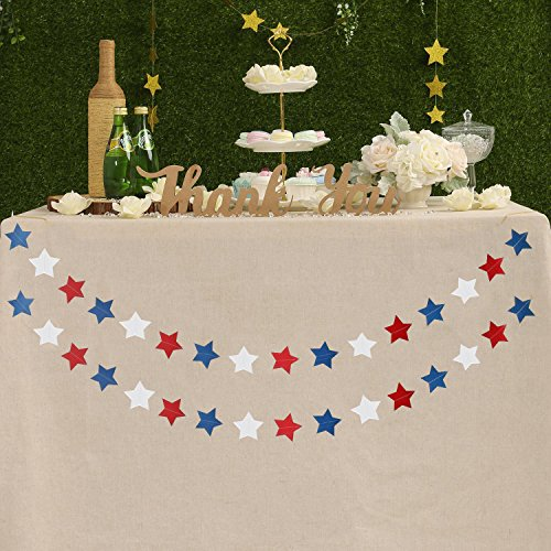2 PCS Blue Red White Paper Star Garland Banner 4th of July Decorations Patriotic Decoration