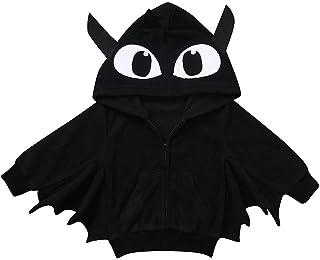 Pantaloni con Cappuccio in Tinta Unita Completo per Bambini con Neonato Cappotto di Halloween Giacca a Maniche Lunghe per Bambini con Pipistrello Stereo di Halloween Set di Giacca