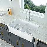 White Farmhouse Sink - Logmey 32 Inch Farm Sink Double Bowl Apron...