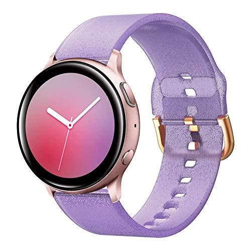 Syxinn Compatible con Galaxy Watch Active/Active2 40mm 44mm Correa de Reloj 20mm Silicona Banda de Reemplazo Pulsera para Galaxy Watch 42mm/Gear Sport/Gear S2 Classic/Ticwatch 2 (Bling-púrpura)