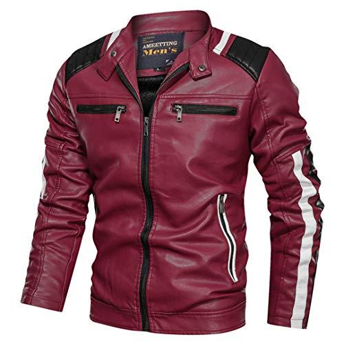H-MetHlonsy Chaqueta de Moto de Cuello Alto de Cuero para Hombre Chaqueta de Cuero de Calidad Estilo Delgado Red XXL 72-80KG