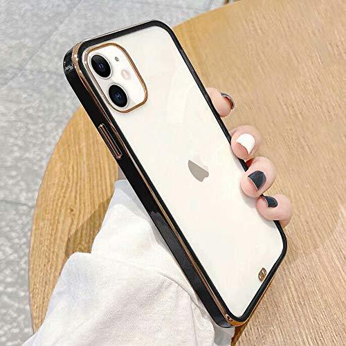 ROSEHUI Funda transparente para teléfono compatible con iPhone 12 Pro Max, resistente a los arañazos, antigolpes, de silicona de calidad militar, color negro