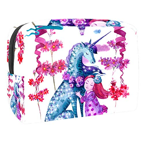 Pink Blue Watercolor Unicorn Girl Flowers toiletry bag 18.5x7.5x13cm/7.3x3x5.1in(L xW xH) Makeup Bag/ Cosmetic Bag Travel Cosmetic Bags