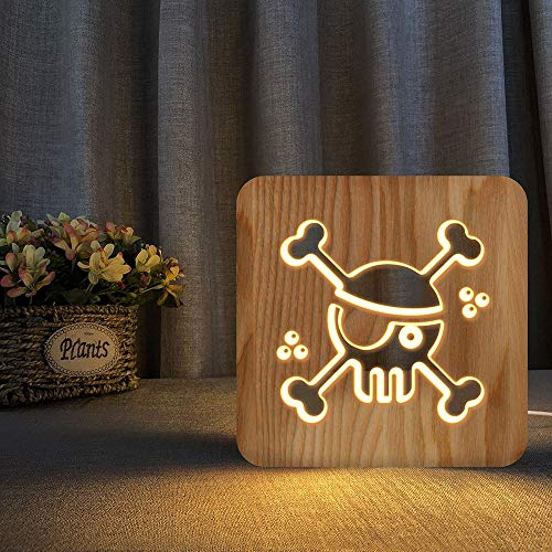 Only 1 Piece Pirate Skull Sailing Ship 3D LED Wooden Night Light Hollow Table Lamp USB Power Table Lamp for Baby Kids Christmas and New Year Gifts