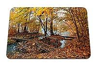 22cmx18cm マウスパッド (秋橋木木の葉黄色い水) パターンカスタムの マウスパッド