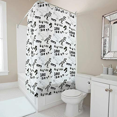 O3XEQ-8 Dinosaurs Duschvorhang niedlich umweltfreundlich Badvorhang - Black&White Muster Drucken Stilvielfalt für Badewanne White 120x200cm