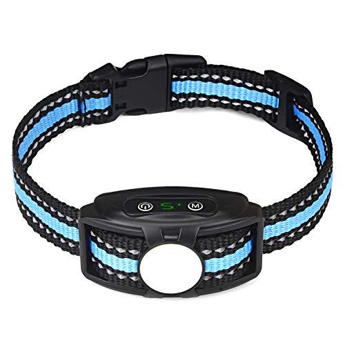 JJOBS Collar Antiladridos para Perros para Addestramento Automático, con Ajustable Vibración sin Descarga Eléctrica, Impermeable y Recargable (Azul3)