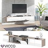 Vicco TV Board Cumulus hängend Wohnwand Fernsehschrank Lowboard Hochglanz (Sonoma/Weiß Hochglanz, 240er) - 2