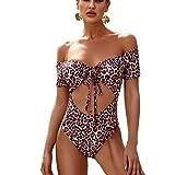 Lovely-Star Leopard Bademode für Damen, Einteiler, Push-Up-Badeanzug, weibliche Bandage Gr. S, 1