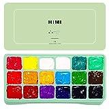 NKDD Gouache Paint Set 18 Colores Vibrantes Pinturas no tóxicas con Estuche portátil Paleta Gouache Paint Green