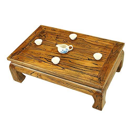 Einfacher Multifunktions-Couchtisch, Ulmenholz, Tatami-Tisch, Wohnzimmer, kleiner Tisch, einfacher Erkerfenster, Tisch (Farbe: Gelb, Größe: 60 x 40 x 25 cm)