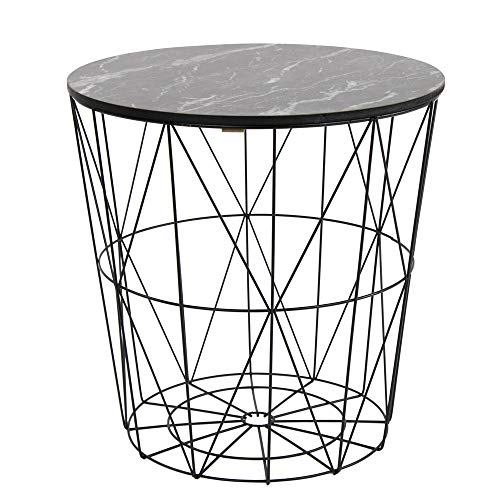 Melody Maison Black Metal Marble Effect Topped Side Table