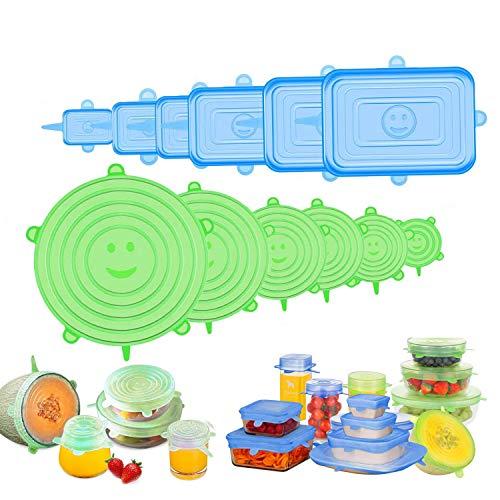 Tapas de Silicona Elásticas, 12 Tapas Rectangulares & Redondas Ajustables Silicona Cocina, Reutilizable Fundas para Alimentos Tapa Tazas, Boles, Lavavajillas, Refrigerador, Microondas, Horno