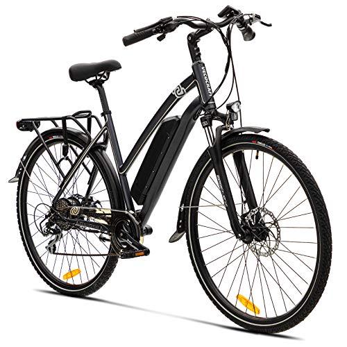 Elektrofahrrad E Bike VecoCraft Athena E-bike Trekking Pedelec Vorführräder für Damen Herren, 28Zoll Urban Citybike, mit 36V 250W 17,5Ah Samsung Akku 25km/h 120km, SHIMANO 8-Gang electric bike schwarz