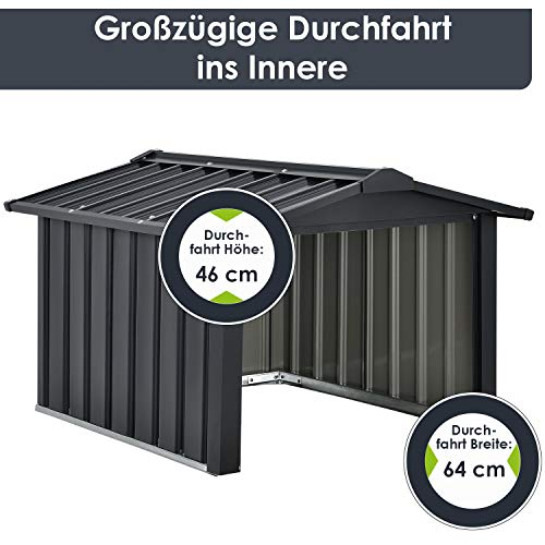 Juskys Metall Mähroboter Garage mit Satteldach - 6