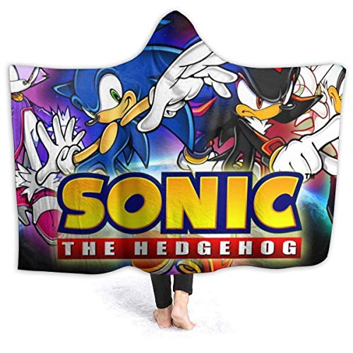 CHICLI Spring Wearable Blankets for Mens Womens, Blaze The Cat Sonic Shadow and Silver The Hedgehog Game Poster Hooded Blankets for Graduation, Holiday, All Seasons Poncho Cloak Cape, 60 x 50 inch