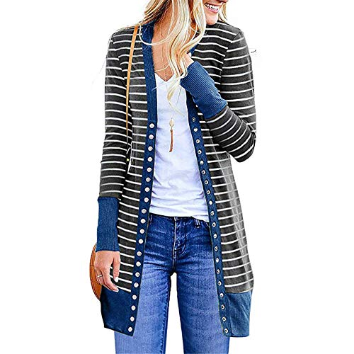Hhckhxww Autumn and Winter Women's Long-Sleeved Pit Striped Cardigan Coat Button Coat T-Shirt Blue