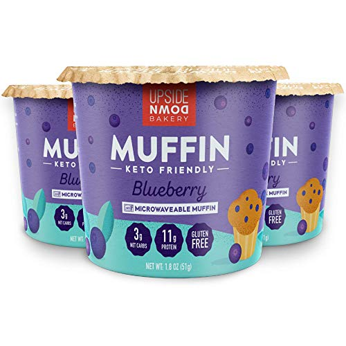 Keto Blueberry Muffin Cup by Upside Down Bakery (3 Net Carbs) - High Protein Snack, Microwavable Mug Cake Dessert - Just Add Water - 1g Sugar - Gluten Free, Grain Free - Single Serve Cups (3 Pack)