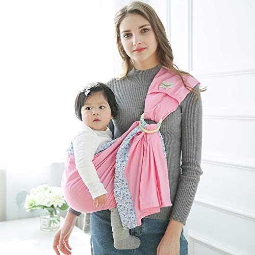 POLKA TOTS Baby Sling Ring Sling Carrier Wrap, Soft Lightweight Cotton Slings Pink (Flower Print)
