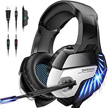 ONIKUMA Gaming Headset for PS4 PS5 Controller Xbox One  Adapter Not Included  Laptop Gaming Headphone with Microphone 7.1 Surround Sound Noise Cancelling Over Ear LED Light Blue Headset