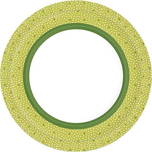 Duni 191824 - Pappteller Rice Green, Durchmesser 22 cm, 10 Stück, beschichtet, Einwegteller, Papierteller, Partygeschirr, Geburtstag, Gartenparty, Servierteller