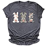 Easter Tshirt Women Teen Girl Cotton Tees Happy Easter Leopard Plaid Rabbit Bunny Graphic Short Sleeve Shirts Gift