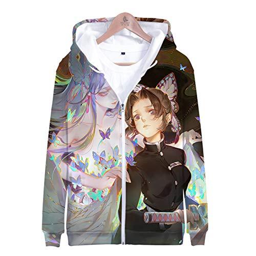 PLMNK Ghost Blade 3D Dibujos Animados animación Cremallera suéter con Capucha cómodo Sudor Transpirable suéter Casual XXL