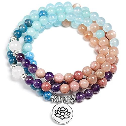 PPuujia Pulsera de cristal de Apatita con Rhodocrosita de piedra natural Mala 108 cuentas hecha a mano pulsera de yoga para mujeres y hombres (color de metal: encanto de loto)