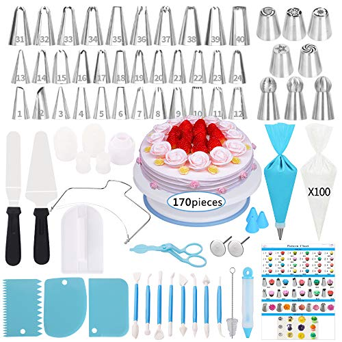 Cake Decorating Supplies Kit,170 PCS Baking Supplies Set with Icing Piping Tips & Russian Nozzles with Pattern Chart, Rotating Turntable Stand, Frosting, Piping Bags - Best Mother's Day Gifts