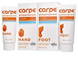 Carpe Antiperspirant Hand and Foot Lotion Package Deal (1 Hand and 1 Foot Tube - Save 17%), Stop Sweaty Hands and Sweaty, Smelly Feet, Dermatologist-Recommended, Most-Popular