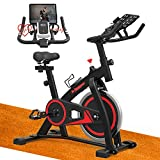 De.Pommeyeux Exercise Bike, Indoor Cycling Bike Stationary, Workout Bike for Home Cardio Gym with Tablet Mount, Pulse Sensor and LCD Monitor
