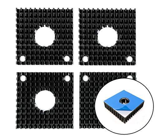 4x Kühlkörper 40x40mm mit Kleber Aluminium Heatsink für Schrittmotoren wie Nema 17 | Einsatz in 3D Druckern wie RepRap, Ultimaker, oder CNC-Maschinen| Universell einsetzbar zur passiven Kühlung
