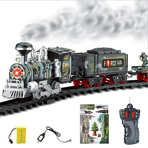 Tren de control remoto, AmaMary Transporte de Control remoto Car Electric steam smoke RC set de tren modelo de Juguete de Regalo (C)